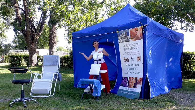 Sylvie THOMAS votre praticienne en Réflexologie et Massage ayurvédique Shiroshampi sur votre lieu de vacances
